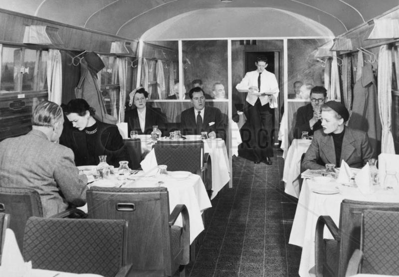 British Rail standard coach,  first class restaurant car 1951.