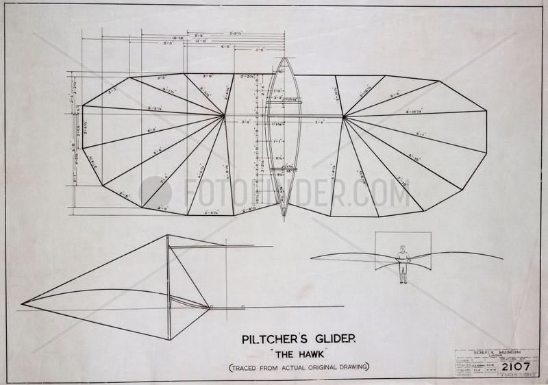 Pilcher's 'Hawk' glider,  c 1890s.