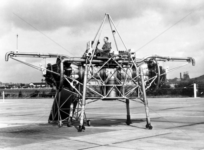 'Flying Bedstead' during tests,  Hucknall,  Nottinghamshire,  c 1955.