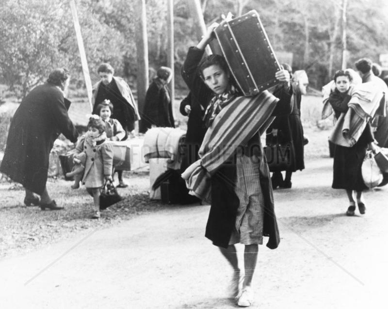 Refugees fleeing Barcelona,  29 January 1939.
