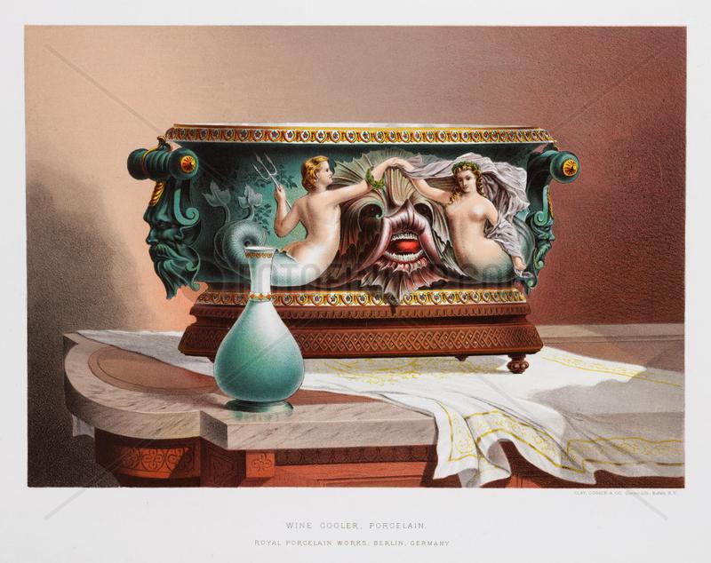 Porcelain wine cooler,  German,  1876.