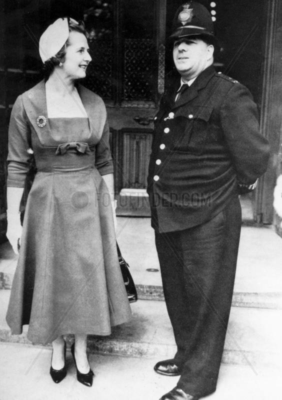 Margaret Thatcher and policeman,  October 1959.