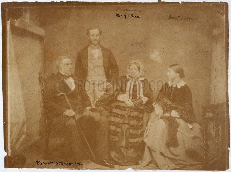 Robert Stephenson,  English mechanical and civil engineer,  and family,  c 1850s.