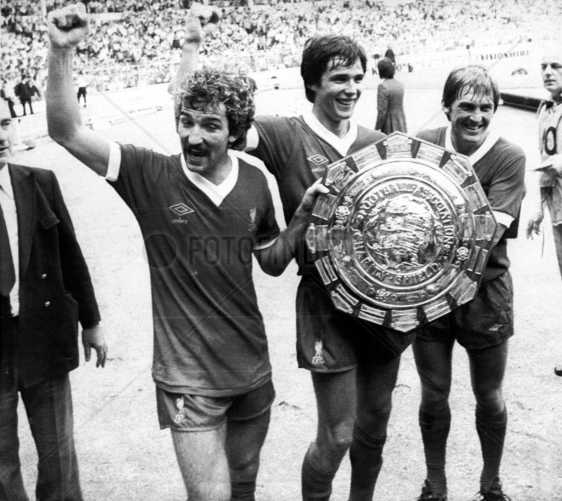 Liverpool with the Championship shield,  3 May 1980.