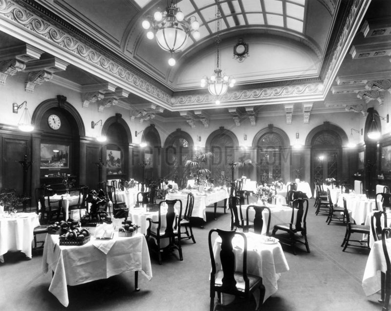 Dining Room at the LNWR's Euston Station,  c