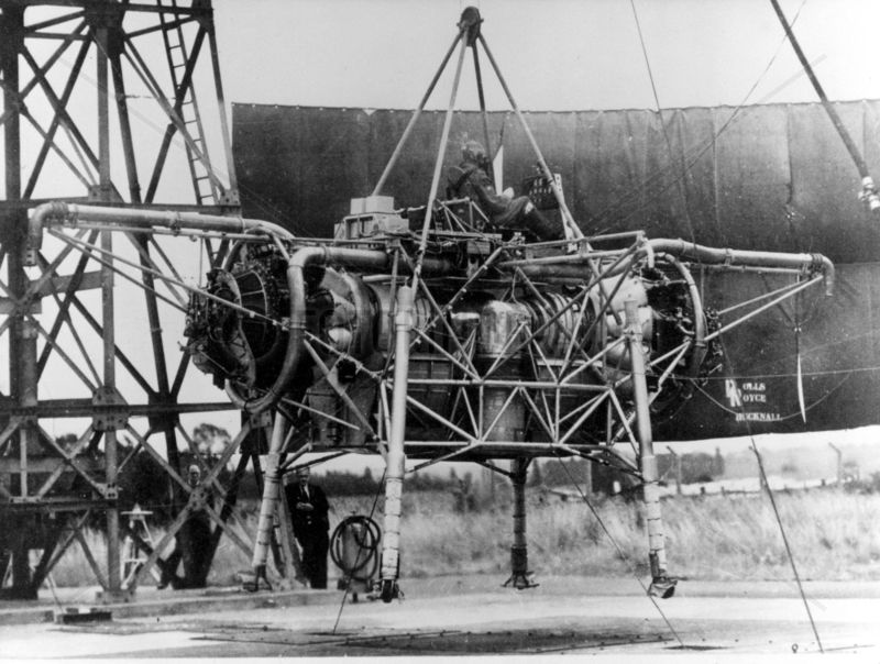 'Flying Bedstead' during tethered test,  Hucknall,  Nottinghamshire,  c 1955.