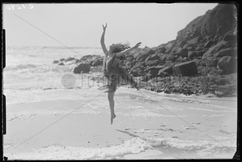 Miss Phyllis Fildes dancing on the beach,  Porthgwarra,  Cornwall,  1933.