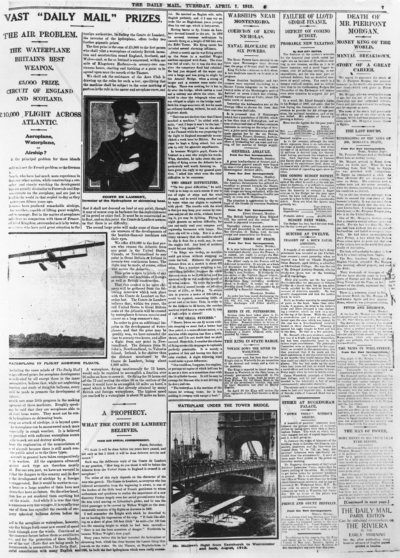 Transatlantic flight prizes,  April 1913. Pa
