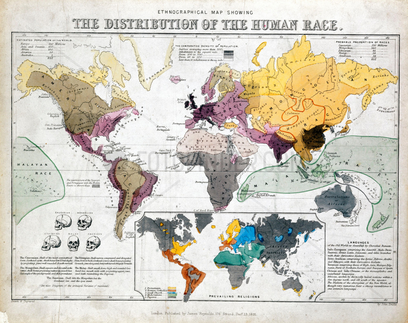 'Ethnographical Map Showing the Distribution of the Human Race',  1851.