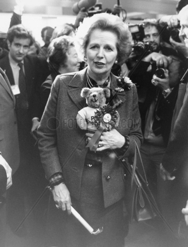 Margaret Thatcher with teddy,  October 1985.