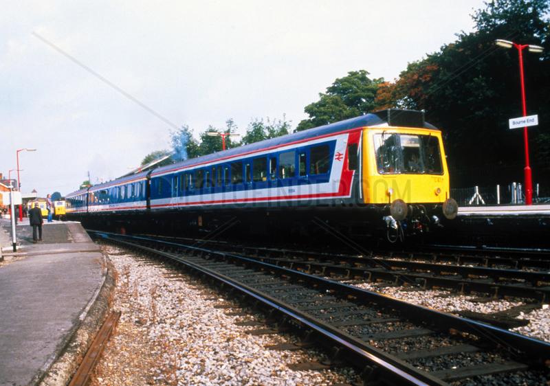 Diesel train at Bourne End Station,  c 1980s.