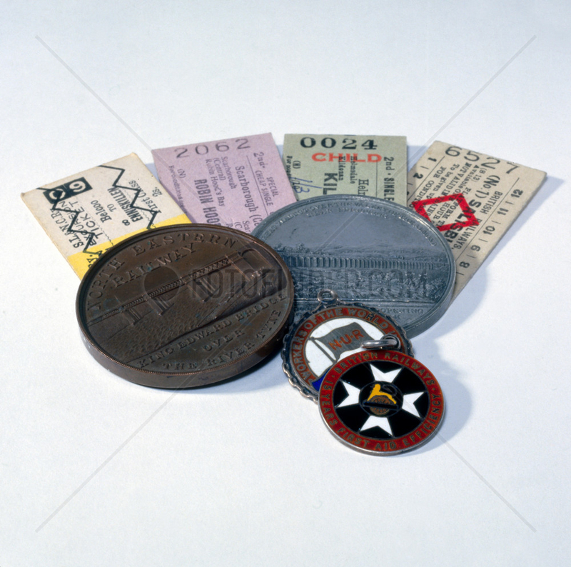 Railway tickets and medals,  19th- 20th century.