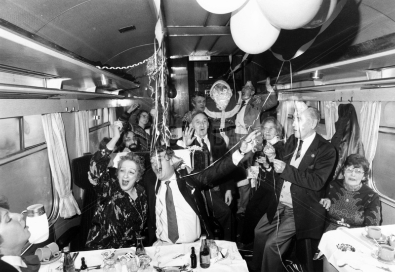 Christmas party on board a train,  December 1985.