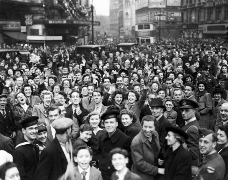 Crowds in Piccadilly Circus on the eve of VE Day,  Second World War,  7 May 1945.