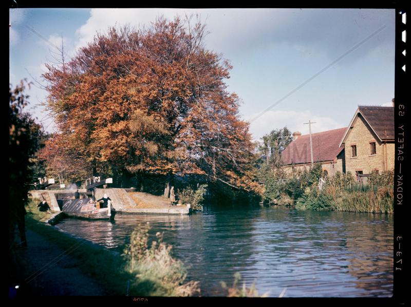 Canal lock,  c 1945.