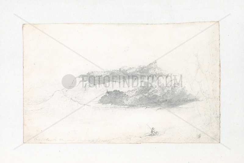 Landscape roughed in show cumulaic heap similar to tops of trees,  1803-1811.
