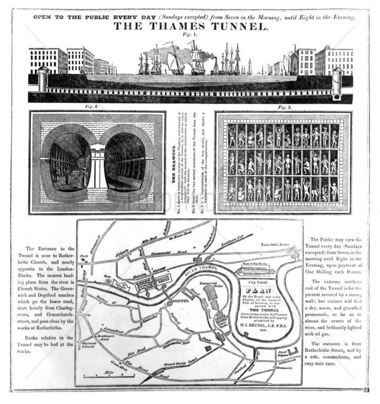 Poster advertising the Thames Tunnel,  London,  mid-late 19th century.