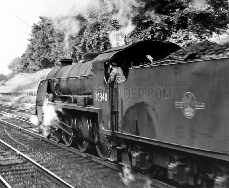 Class S15 4-6-0 No 30840 passes thorugh Clapham Cutting,  July 1964.