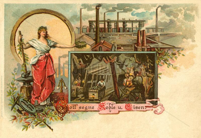 Gott segne Kohle und Eisen,  Postkarte,  1902