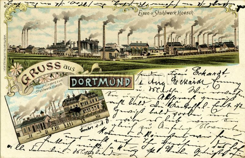 Gruss aus Dortmund,  Stahlwerk Hoesch,  1898