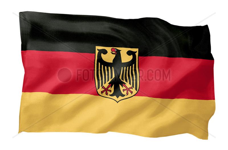 Inoffizielle Fahne der Bundesrepublik Deutschland (Motiv A; mit natuerlichem Faltenwurf und realistischer Stoffstruktur)