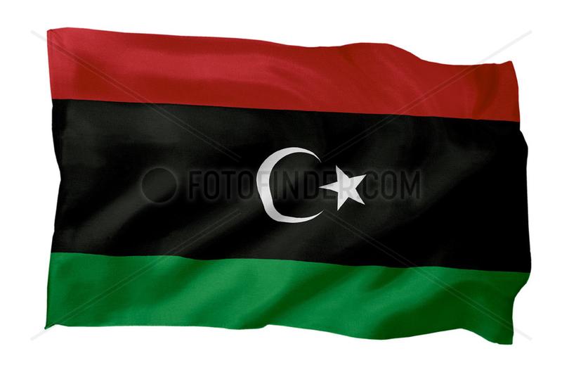 Fahne von Libyen von 1951 - Fahne der Revolution 2011 (Motiv A; mit natuerlichem Faltenwurf und realistischer Stoffstruktur)