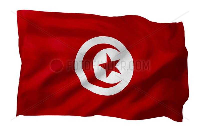 Fahne von Tunesien (Motiv A; mit natuerlichem Faltenwurf und realistischer Stoffstruktur)