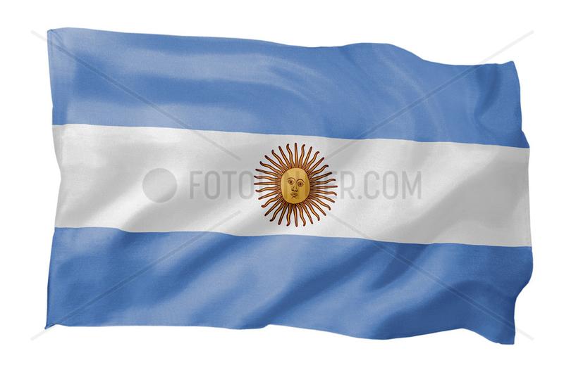 Fahne von Argentinien (Motiv A; mit natuerlichem Faltenwurf und realistischer Stoffstruktur)