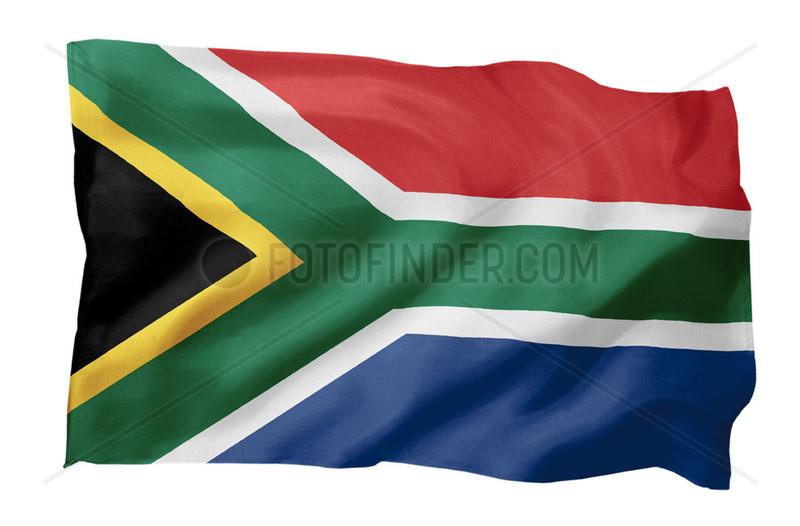 Fahne von Suedafrika (Motiv A; mit natuerlichem Faltenwurf und realistischer Stoffstruktur)