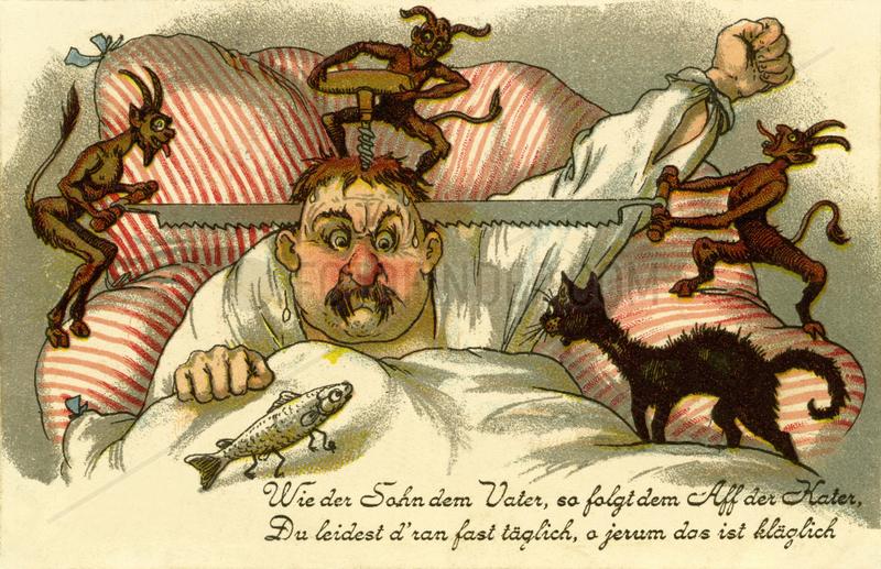 Karikatur Kater,  Alkoholkater,  1903