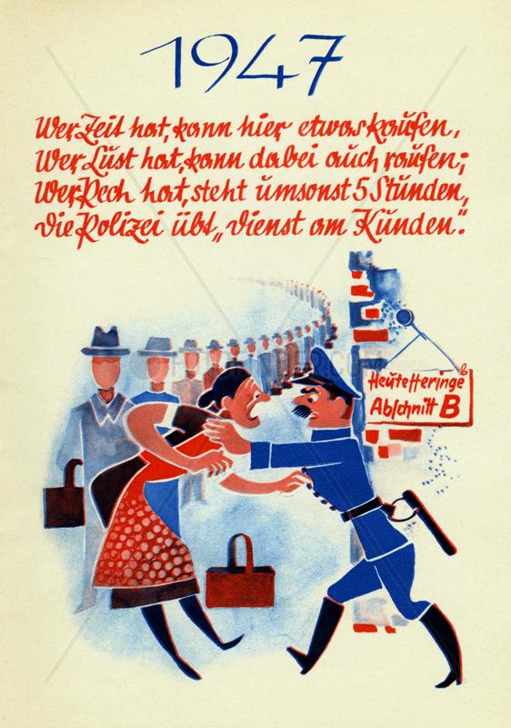 Schlangestehen,  schlechte Versorgungslage in der Nachkriegszeit,  1947