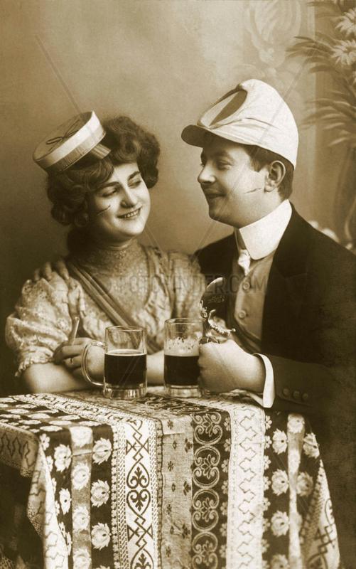 Studenten,  Paar,  Rendezvous,  1908