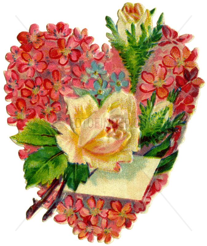 Blumenherz mit Rosen,  Liebessymbol,  1895