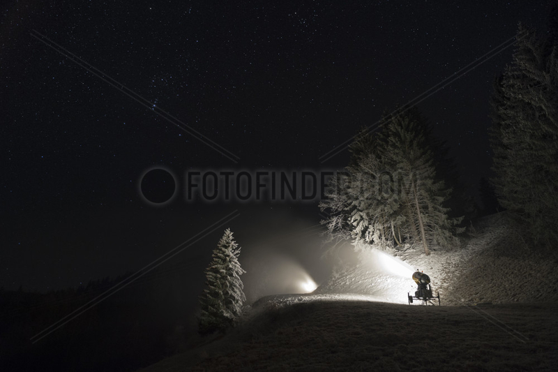 Snow cannons in night,  Les Brasses ski ressort,  Alpes,  France