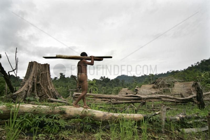 Man carrying trunks cut Tau't Batu Palawan Philippines