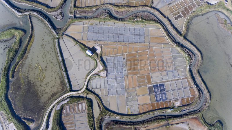 Aerial view of the salt marshes of Guerande,  Atlantic coast,  France