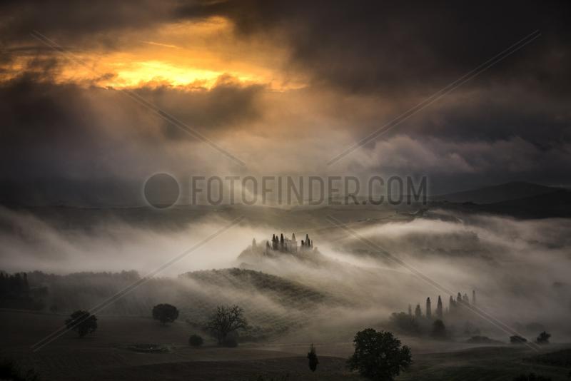 Castle of Torrechiara in the morning mist,  Emilia-Romagna,  Italy