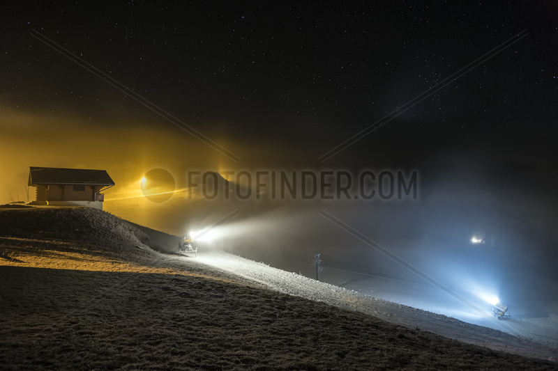 Operating Ice cannon on a ski slope,  Haute-Savoie,  Alps,  France