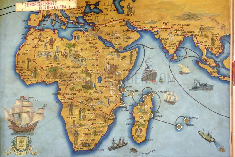 Colonial wall map,  Antananarivo's post office,  Madagascar