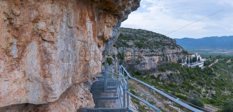 Ermita de la Pietat,  The Abrics de l'Ermita Rock Art,  Ulldecona Village,  Terres de l'Ebre,  Tarragona,  Catalunya,  Spain