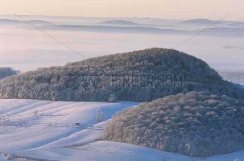 Landscape snow-covered under the fog France
