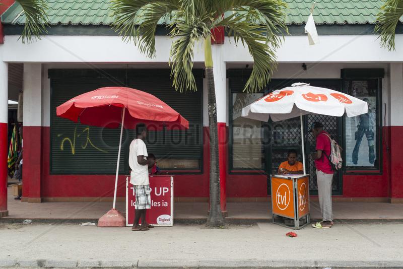 Telephone recharge vendors,  Port Vila,  Efate Island. Vanuatu.