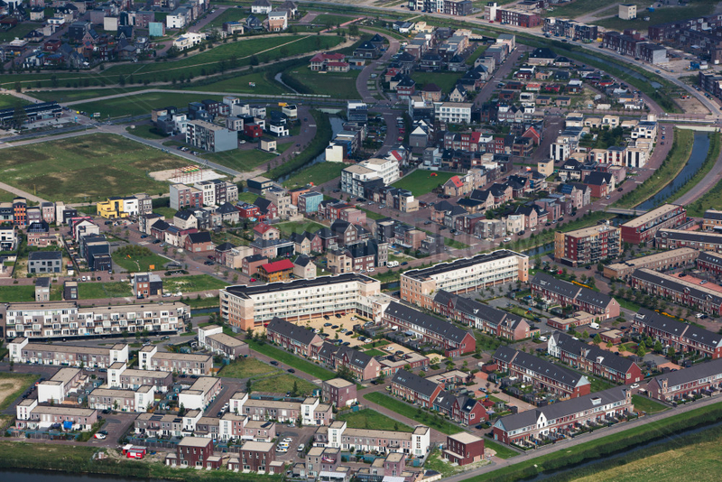 aerial view on Almere city,  The Netherlands
