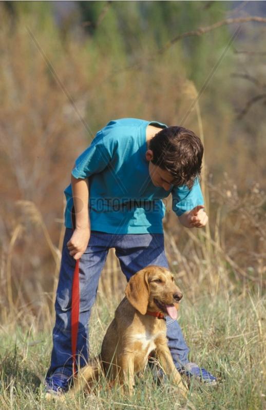 Garçon donnant un ordre à un chien bâtard