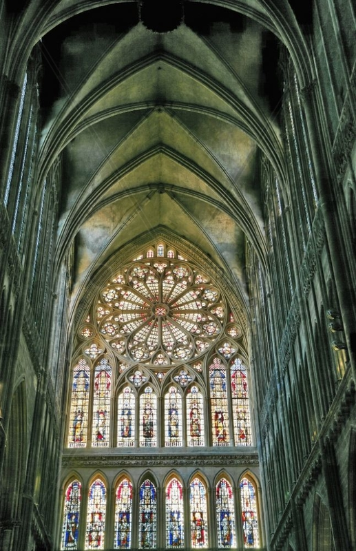 Large rosette of the cathedral Saint Etienne in Metz France