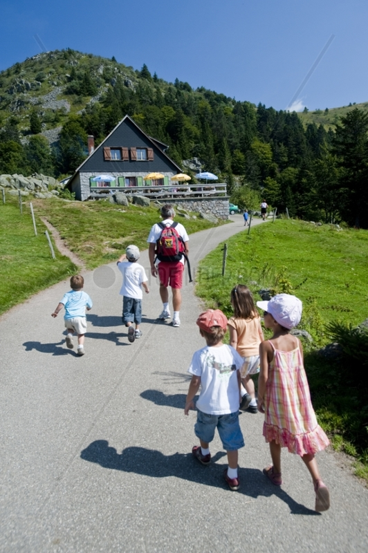 Family outing to the farm-inn Forlet Vosges France
