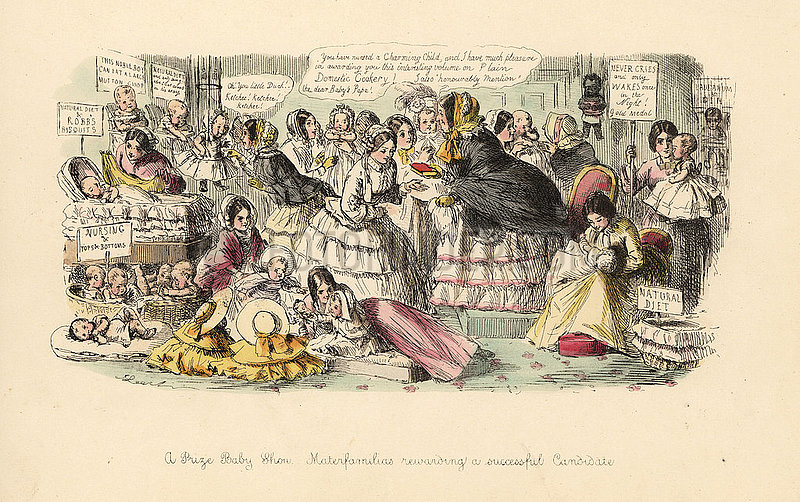 A Prize Baby Show,  Materfamilias rewarding a successful Candidate,  1855.