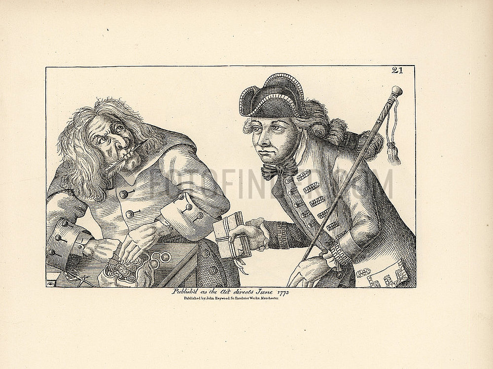 Miser being duped by a bankrupt aristocrat with a parcel of fake parchments.