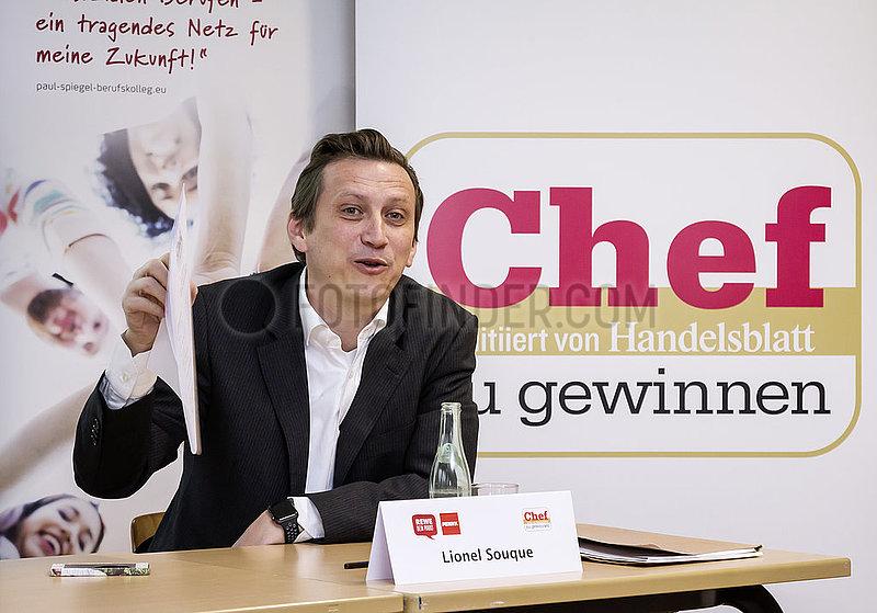 Handelsblatt-Veranstaltung Chef zu gewinnen mit Lionel Souque,  Vorstandsmitglied der REWE-Zentral-Aktiengesellschaft