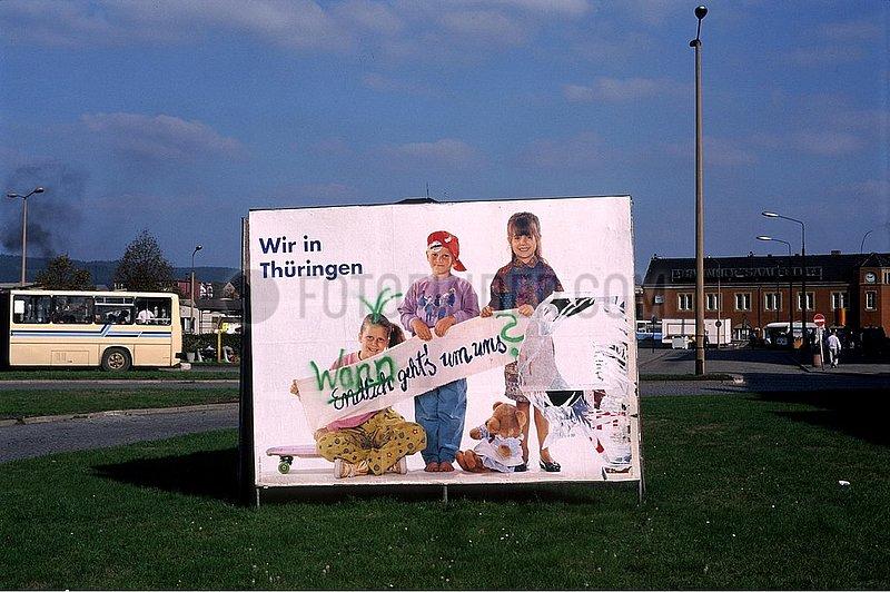 Oktober 1990,  Saalfeld,  Thueringer Landtagswahl